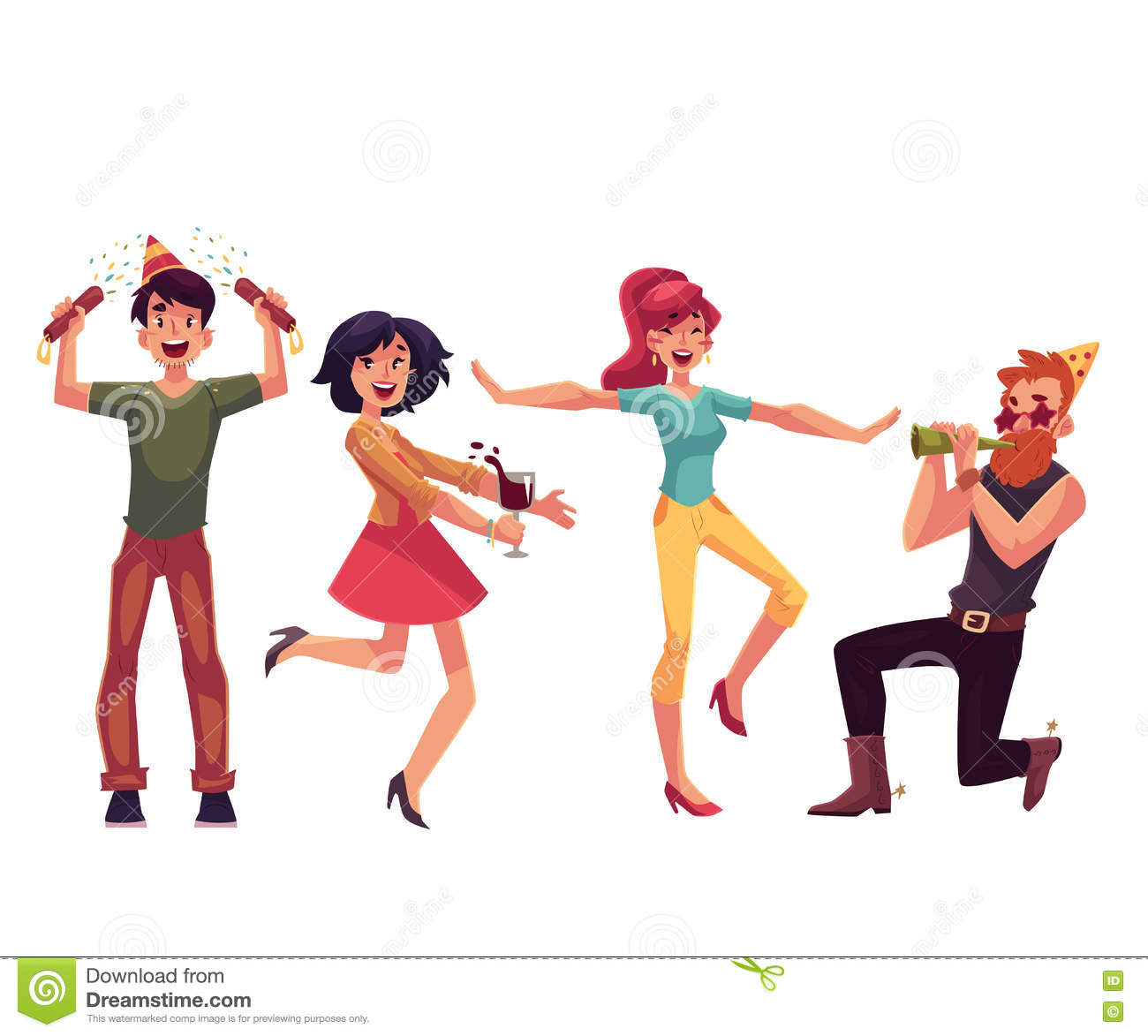 Set Of Friends Having Fun At A Birthday Party Stock Vector