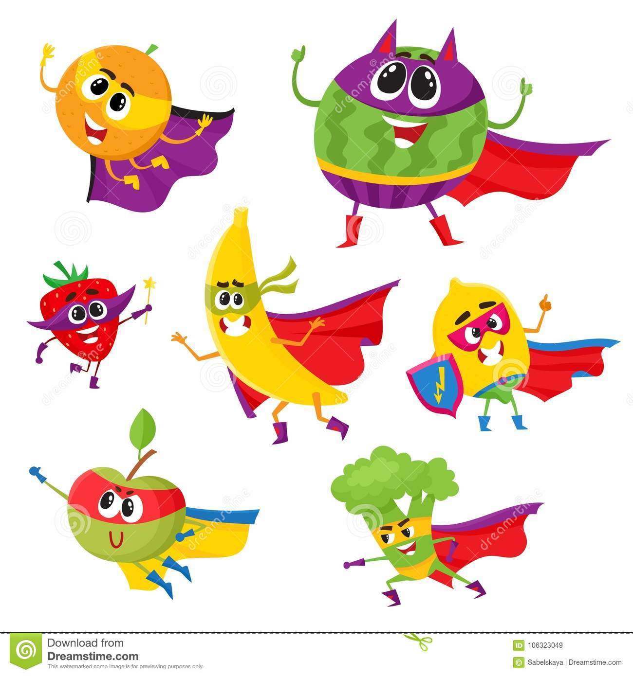 Set Of Fruit And Berry Hero, Superhero Characters Stock