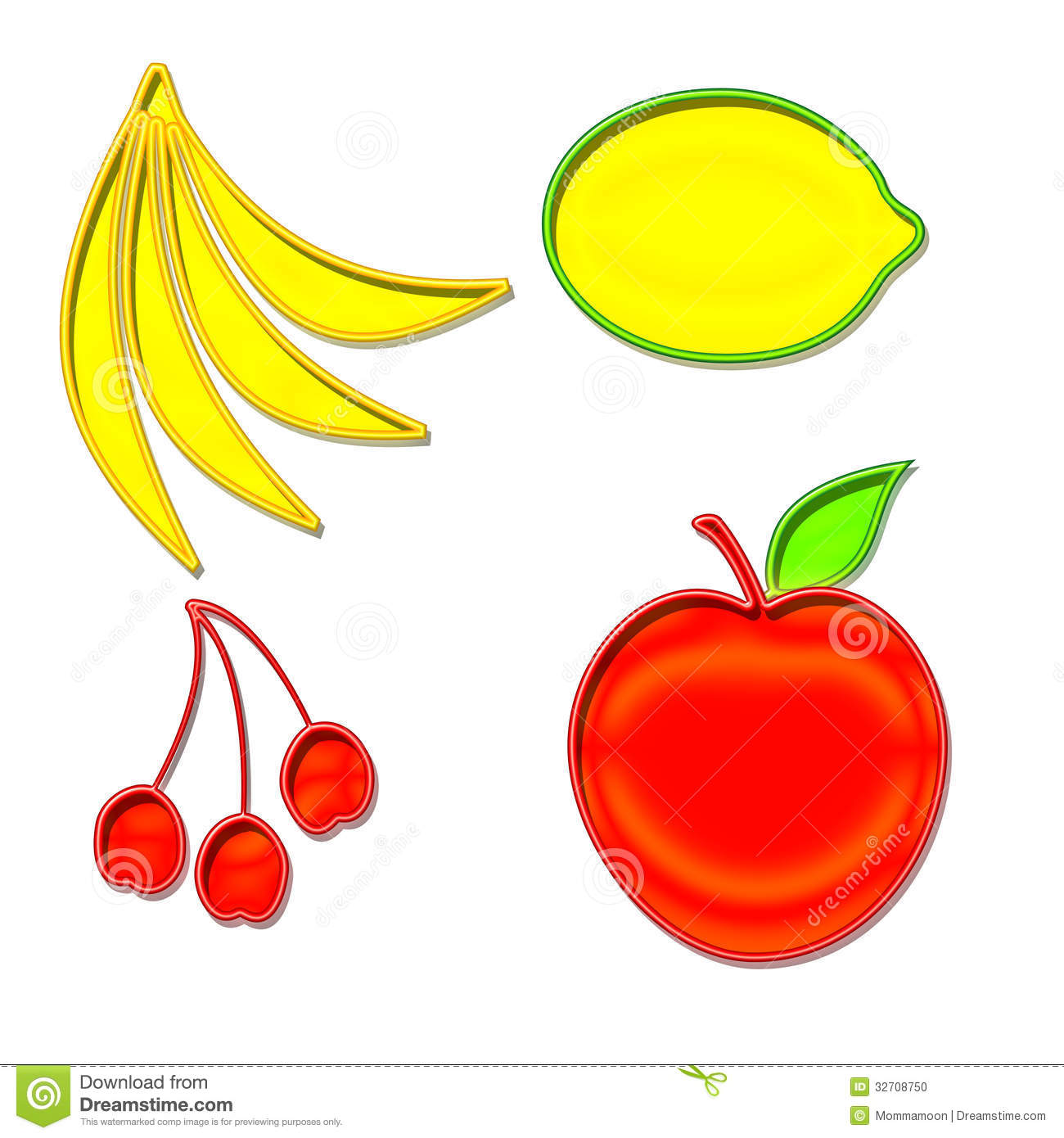 Stock Photo Set Fruit Shapes Yellow Red Green Image32708750 on banana cartoon character