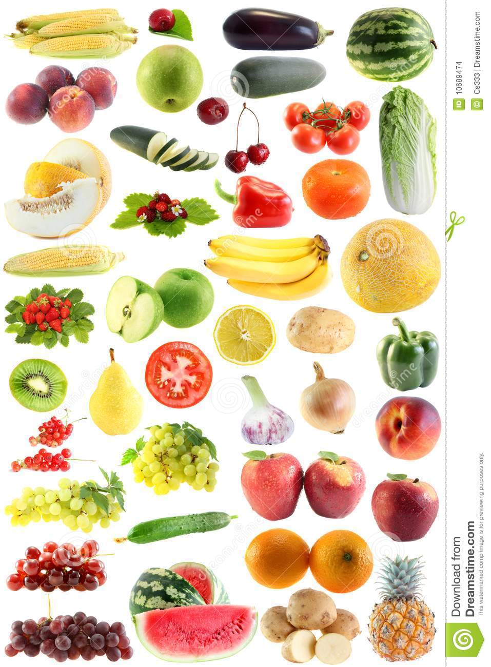 Set fruit, vegetables isolated