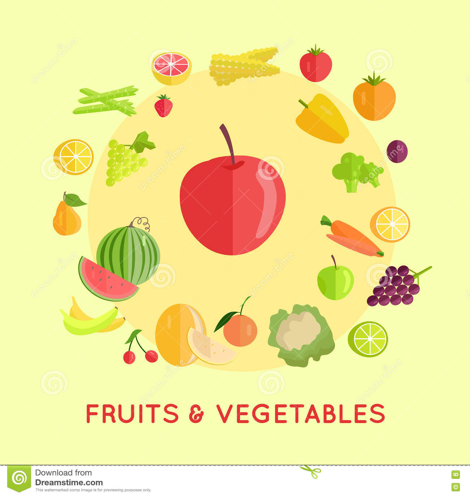 Set of Fruits Vegetables Vector Illustrations.