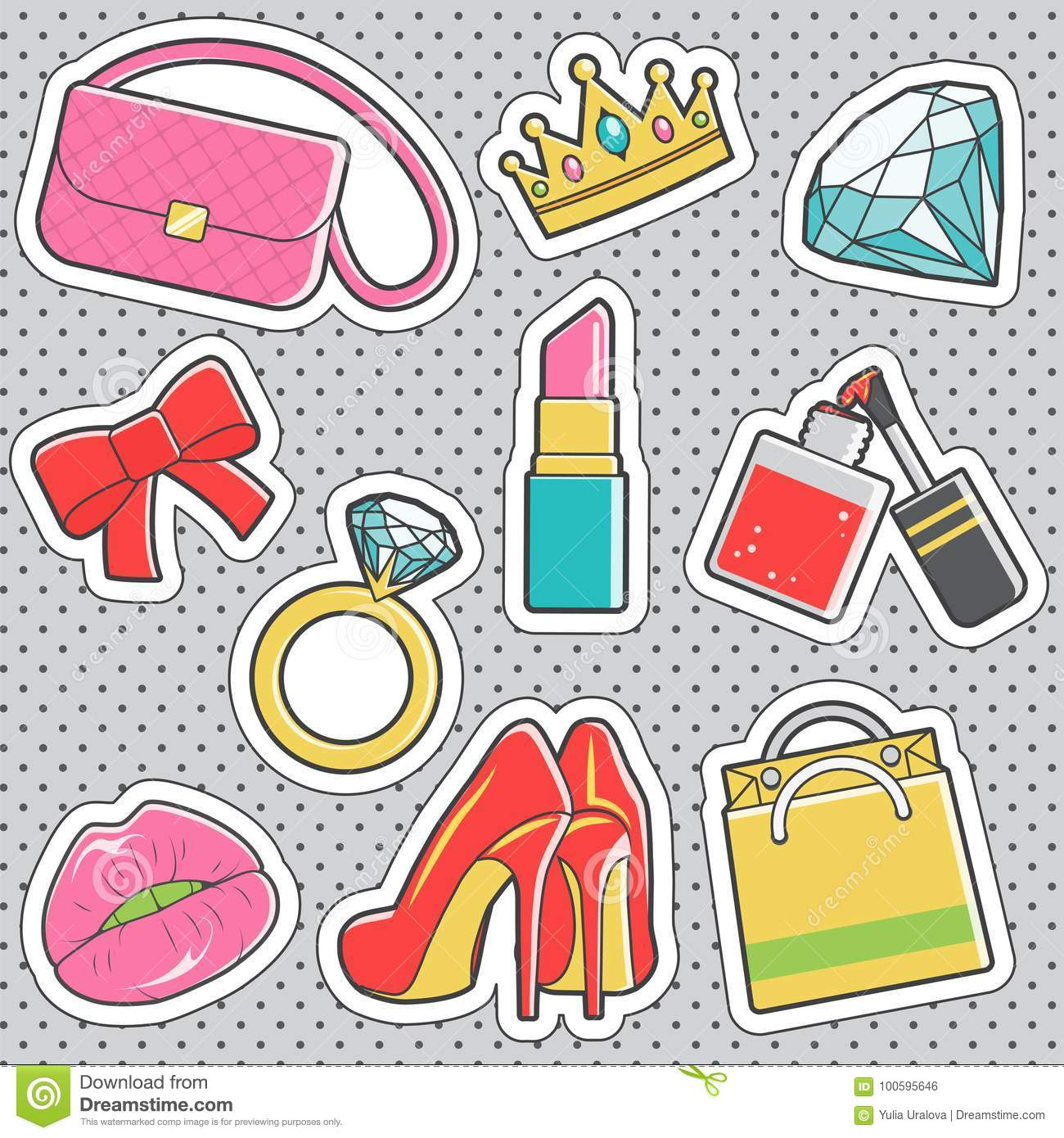Fun trendy vintage sticker girly fashion badges