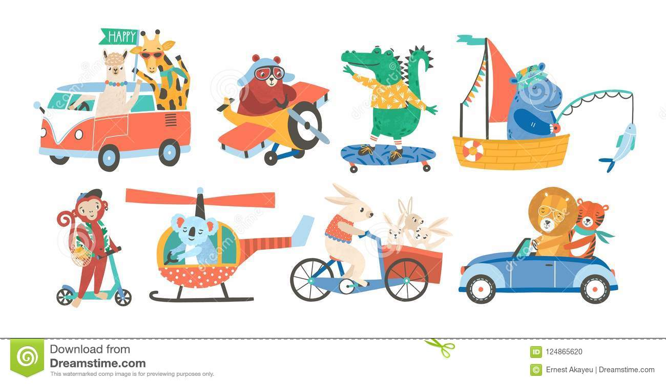 Set of funny adorable animals in various types of transport - driving car, fishing in sailboat, riding bicycle