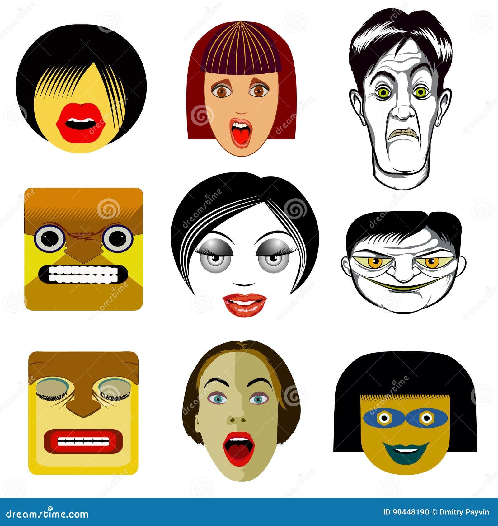 Set Of Funny Avatar Portraits Stock Vector - Illustration of