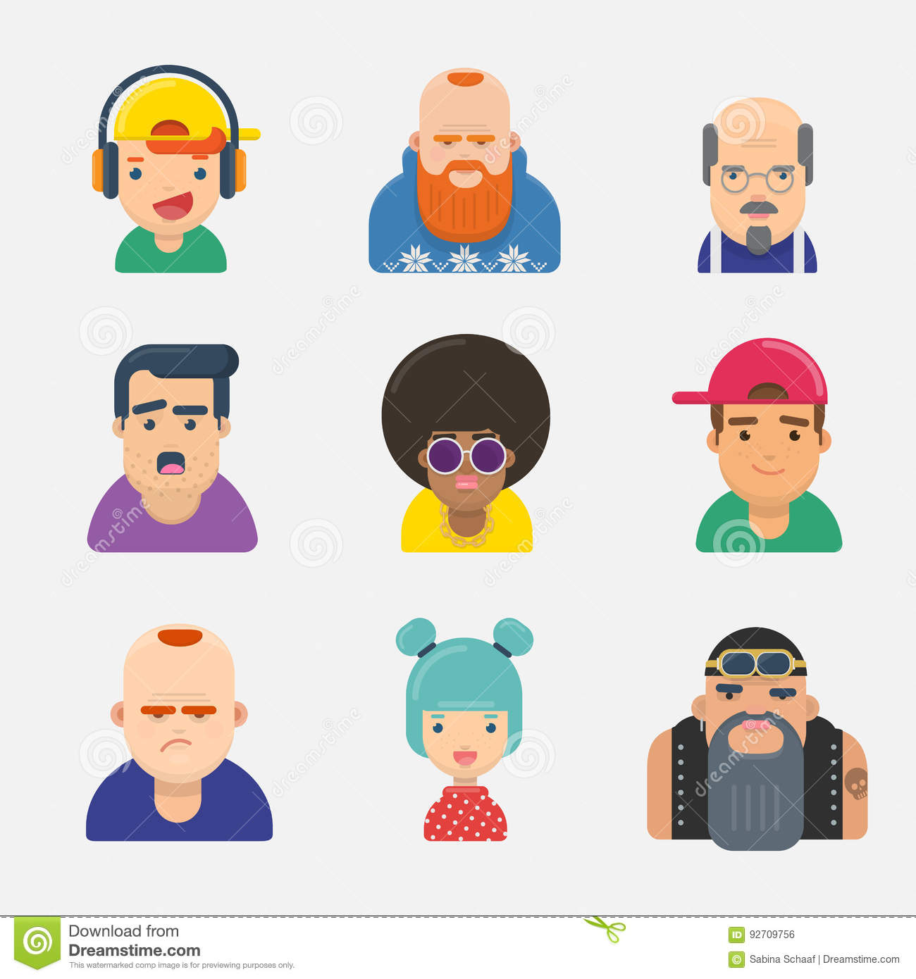 Set of funny avatars different persons gender and age