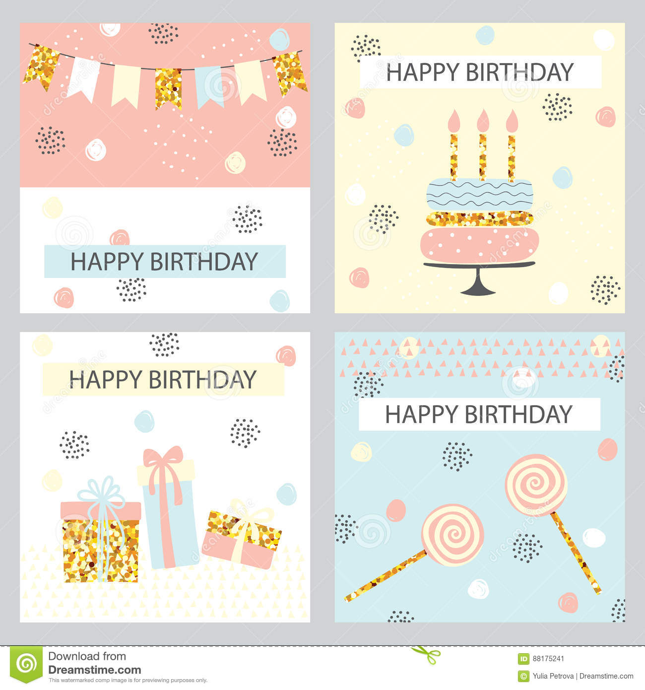 Set Of Funny Birthday Backgrounds Stock Vector Illustration Of