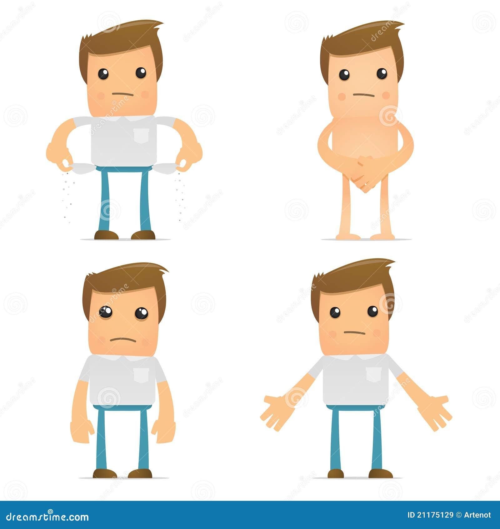 Set of funny cartoon casual man