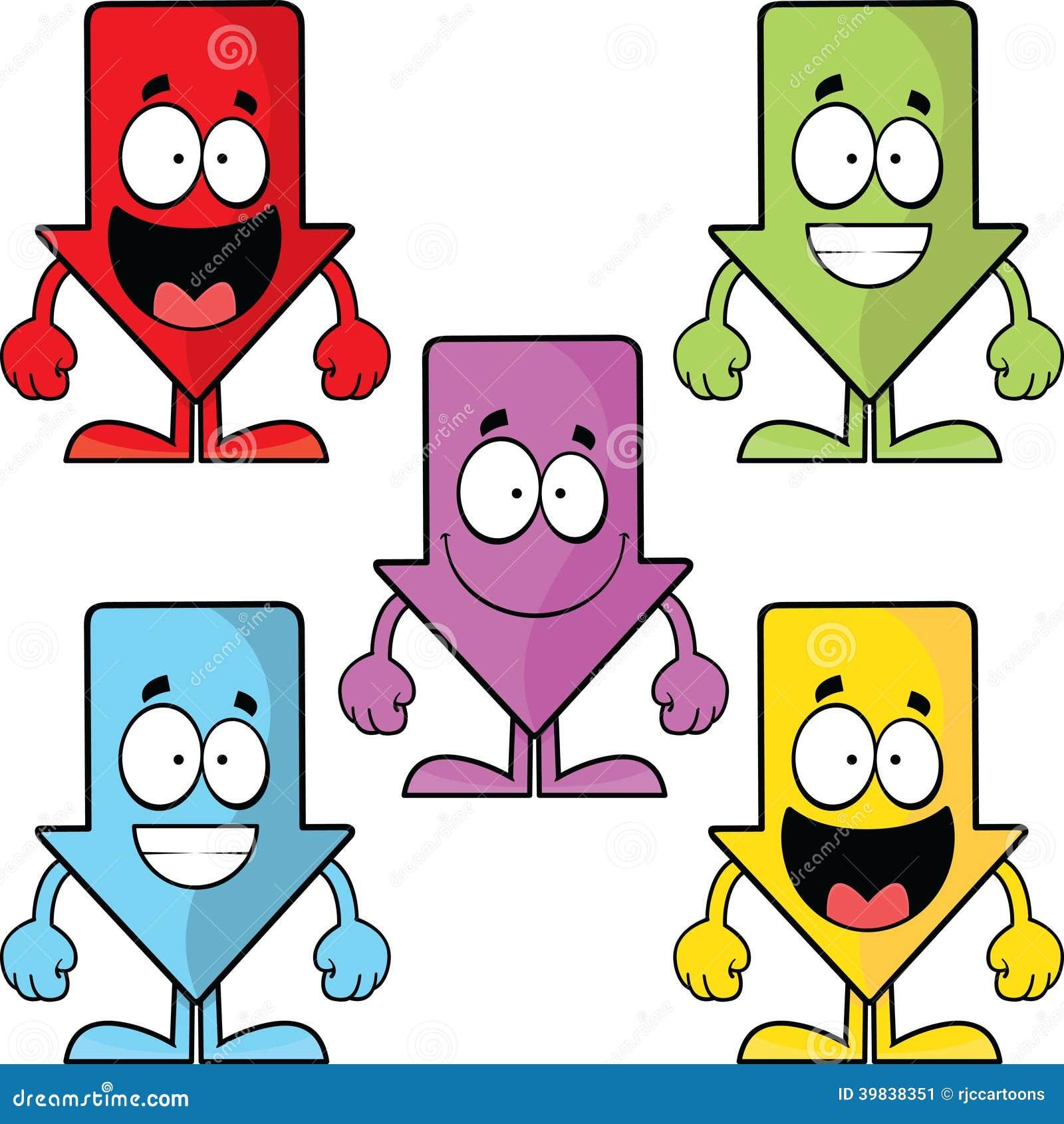 Set Of Funny Cartoon Down Arrows Stock Vector - Image: 39838351
