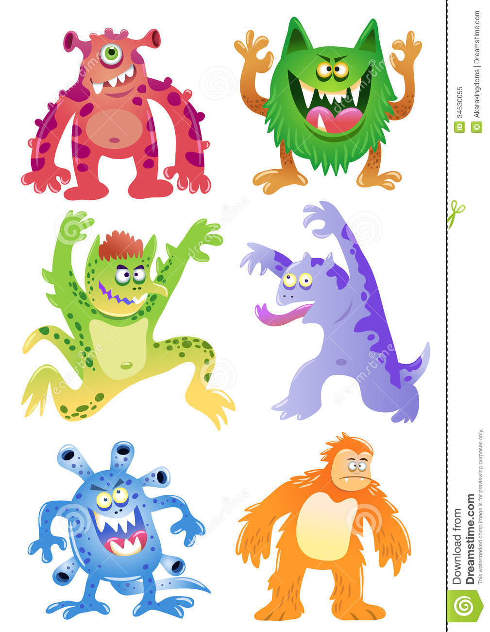 Set Of Funny Cartoon Monsters Royalty Free Stock Photo - Image ...