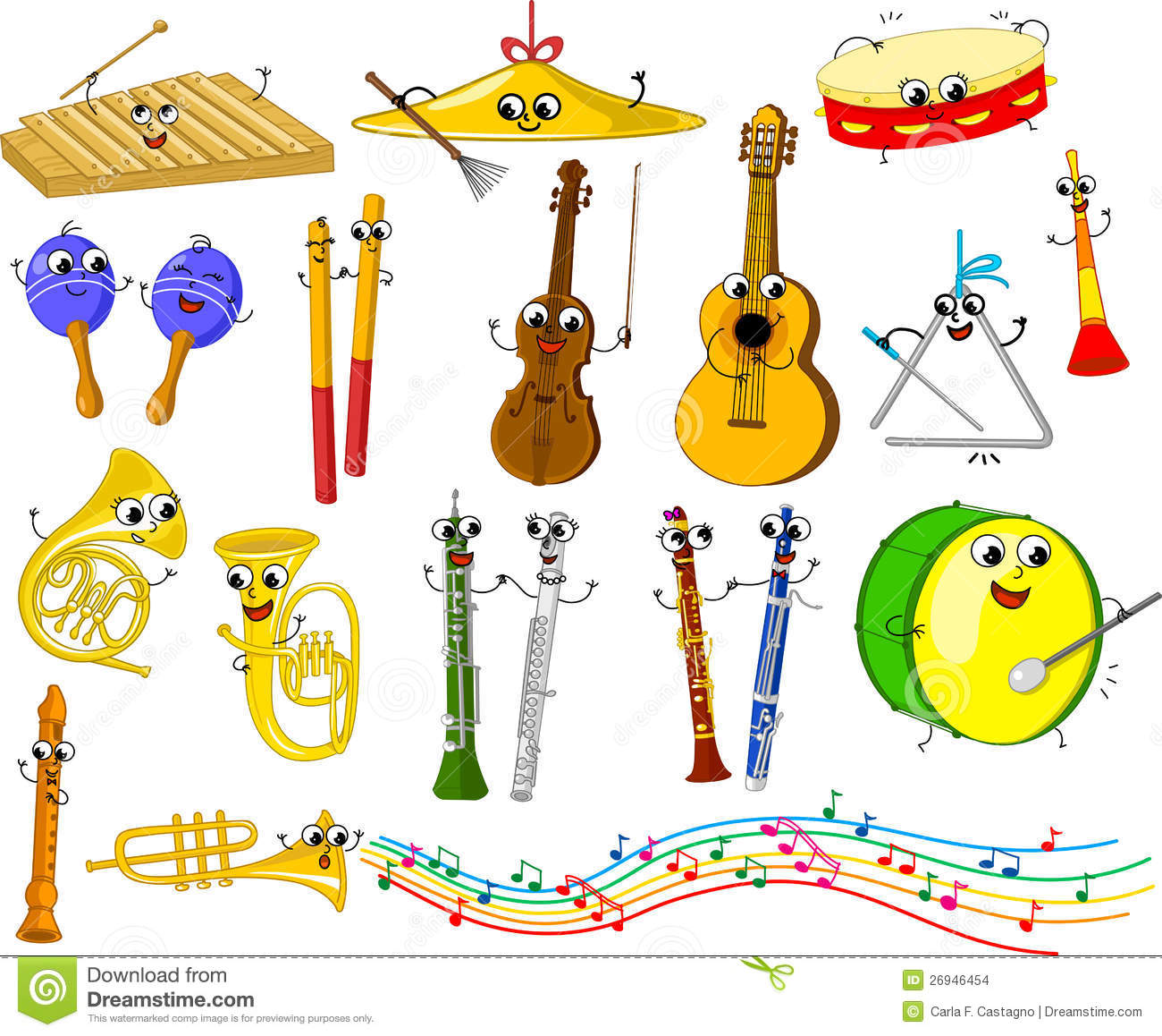 Set Of Funny Cartoon Musical Instruments Stock Images - Image ...