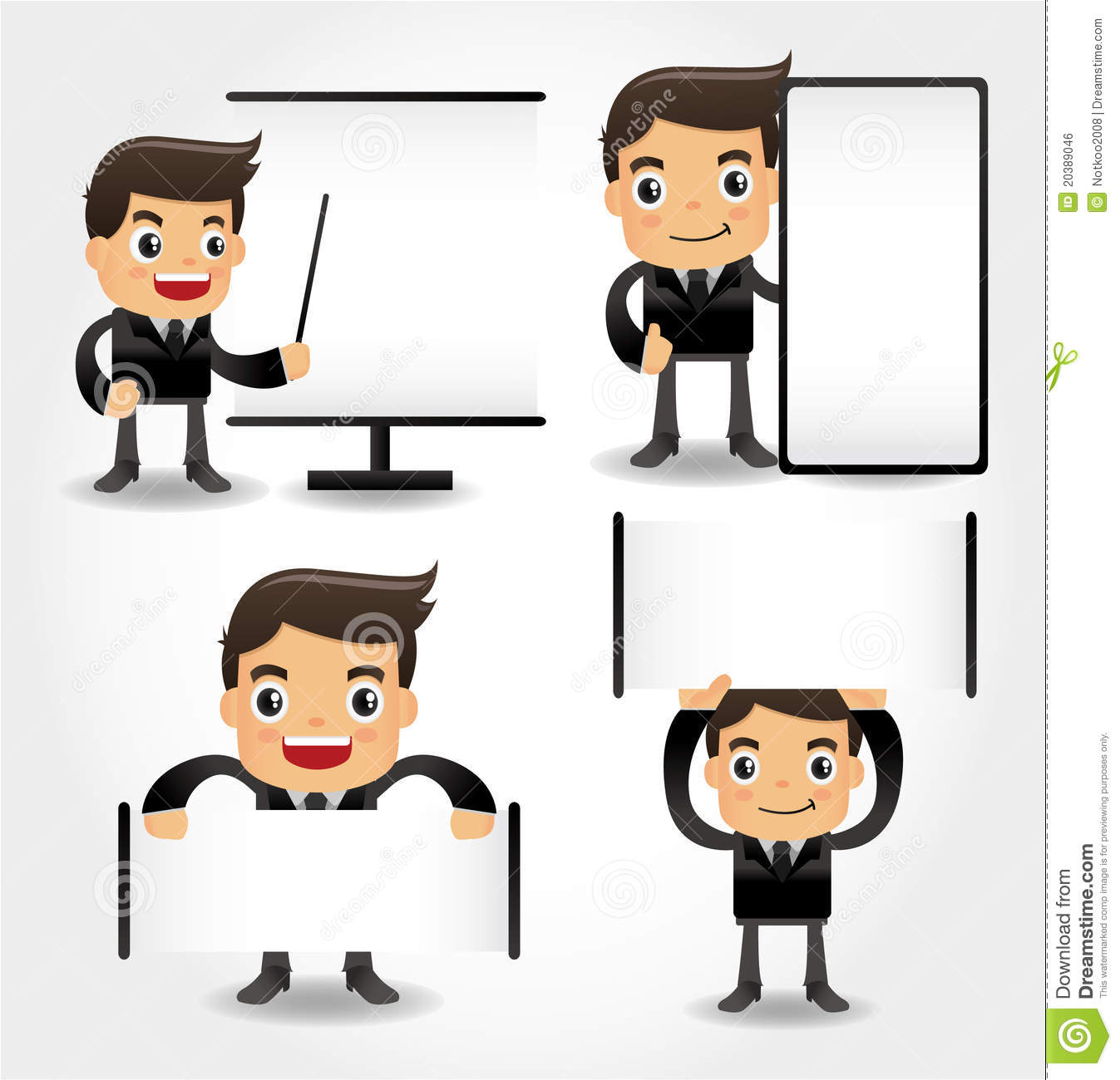 Set Of Funny Cartoon Office Worker Icon Royalty Free Stock Image ...