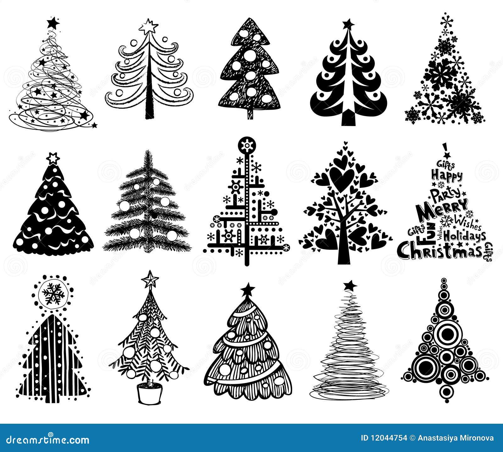 Set of Funny Christmas Trees.