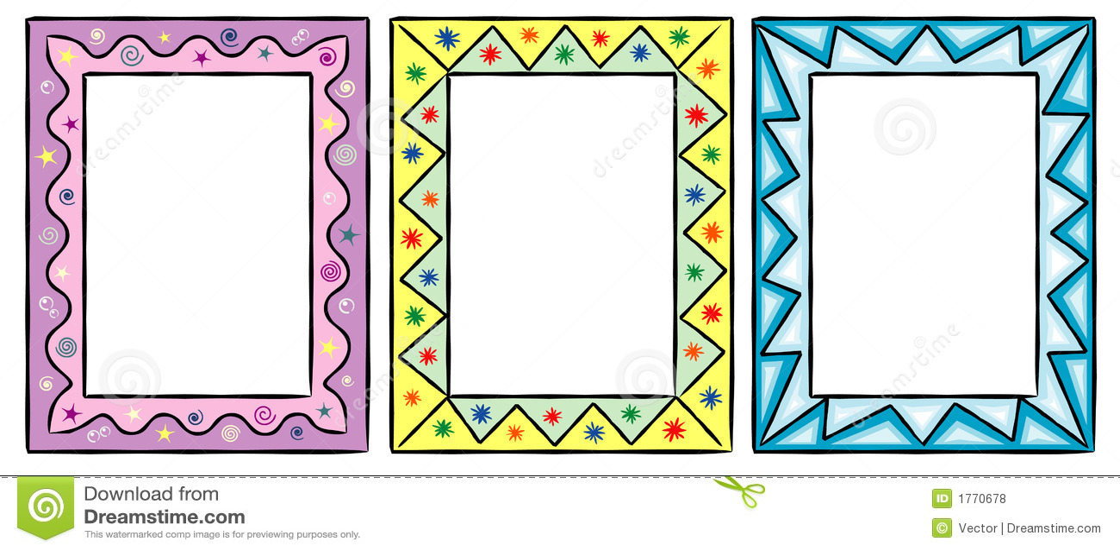 Set Of Funny Decorative Frames Stock Vector - Illustration of border ...