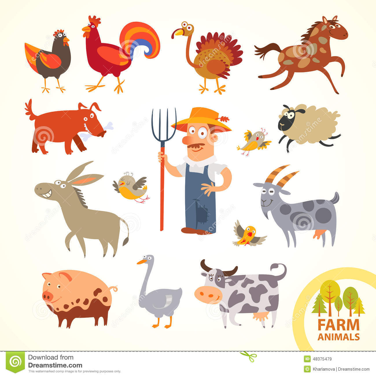 Set funny farm little animals. Cartoon character
