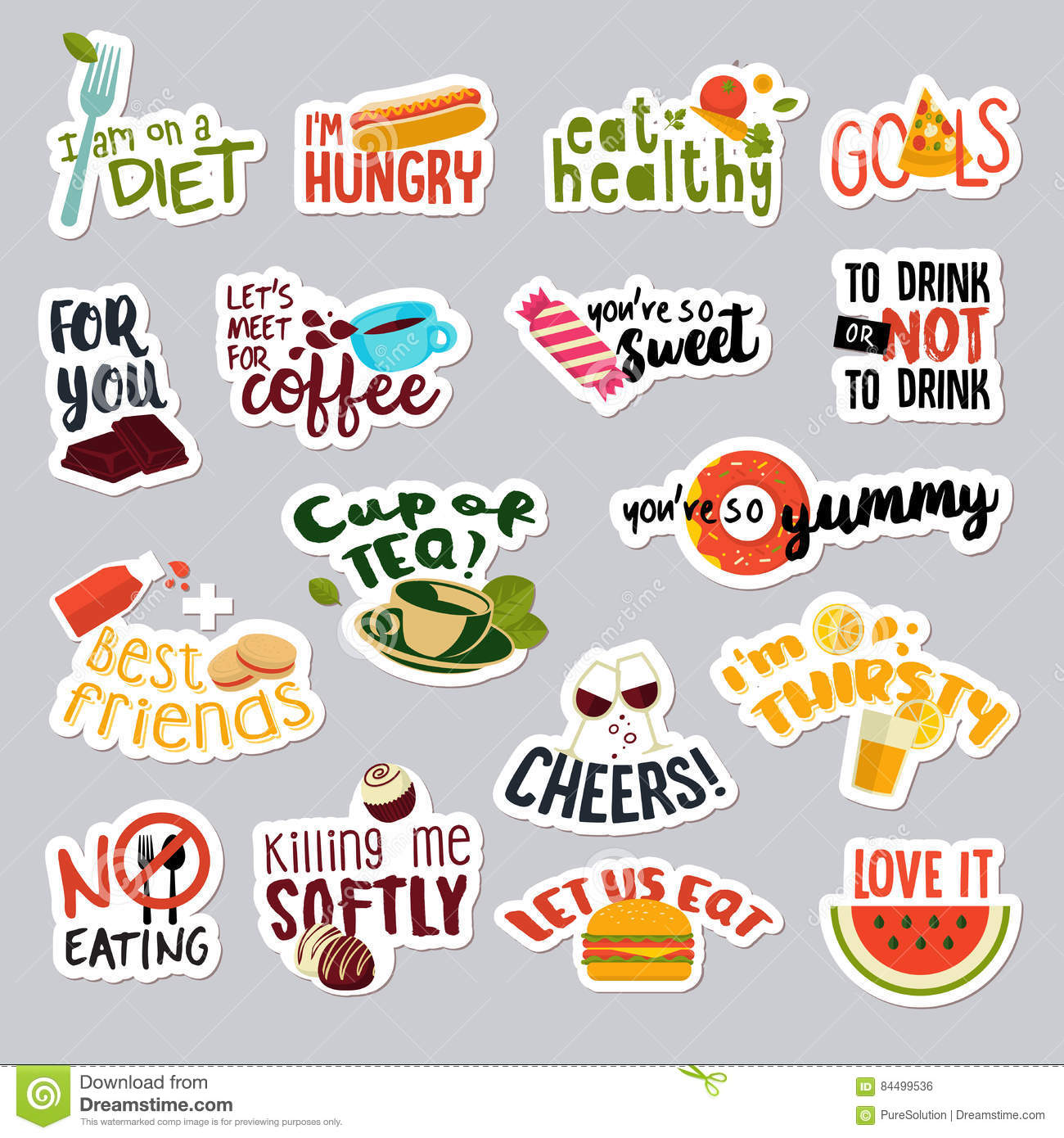 Set of funny stickers for social network food and drink stickers for mobile messages chat social media online communication networking web design