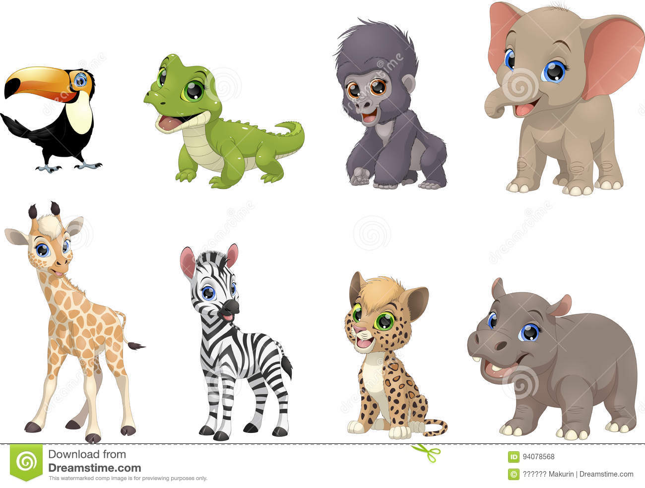Set of funny kids animals