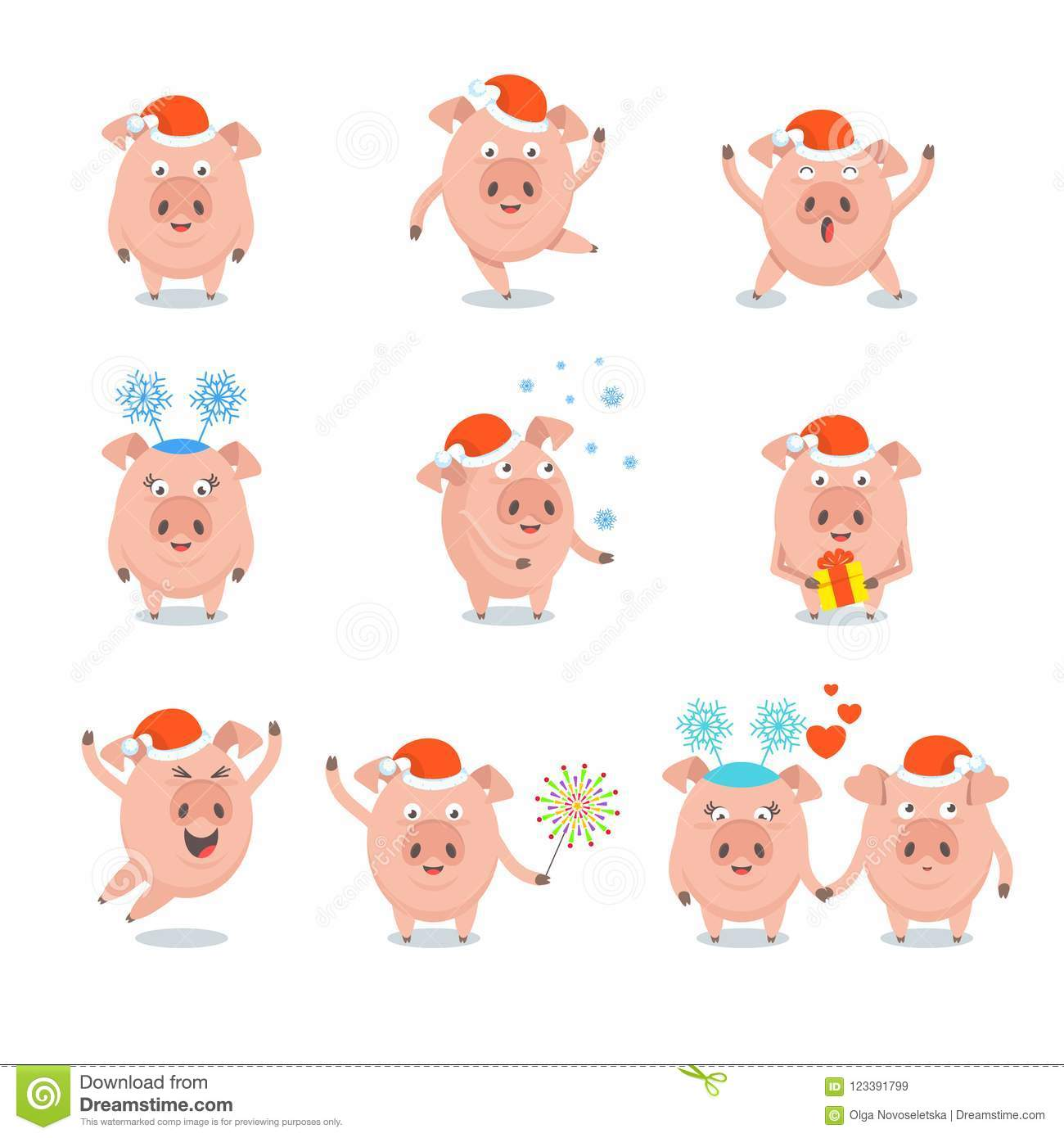 Set Of Funny Merry Pig In Santa Claus Hat, Stock Vector ...