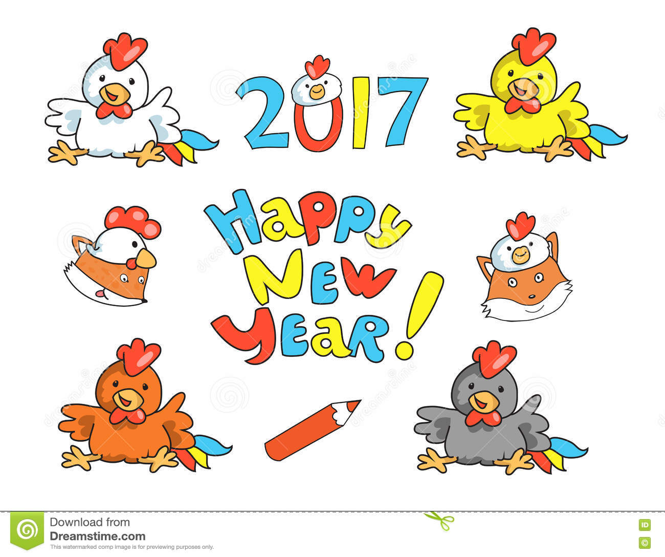 Set Of Funny New Year\'s Symbols Stock Vector - Illustration of ...