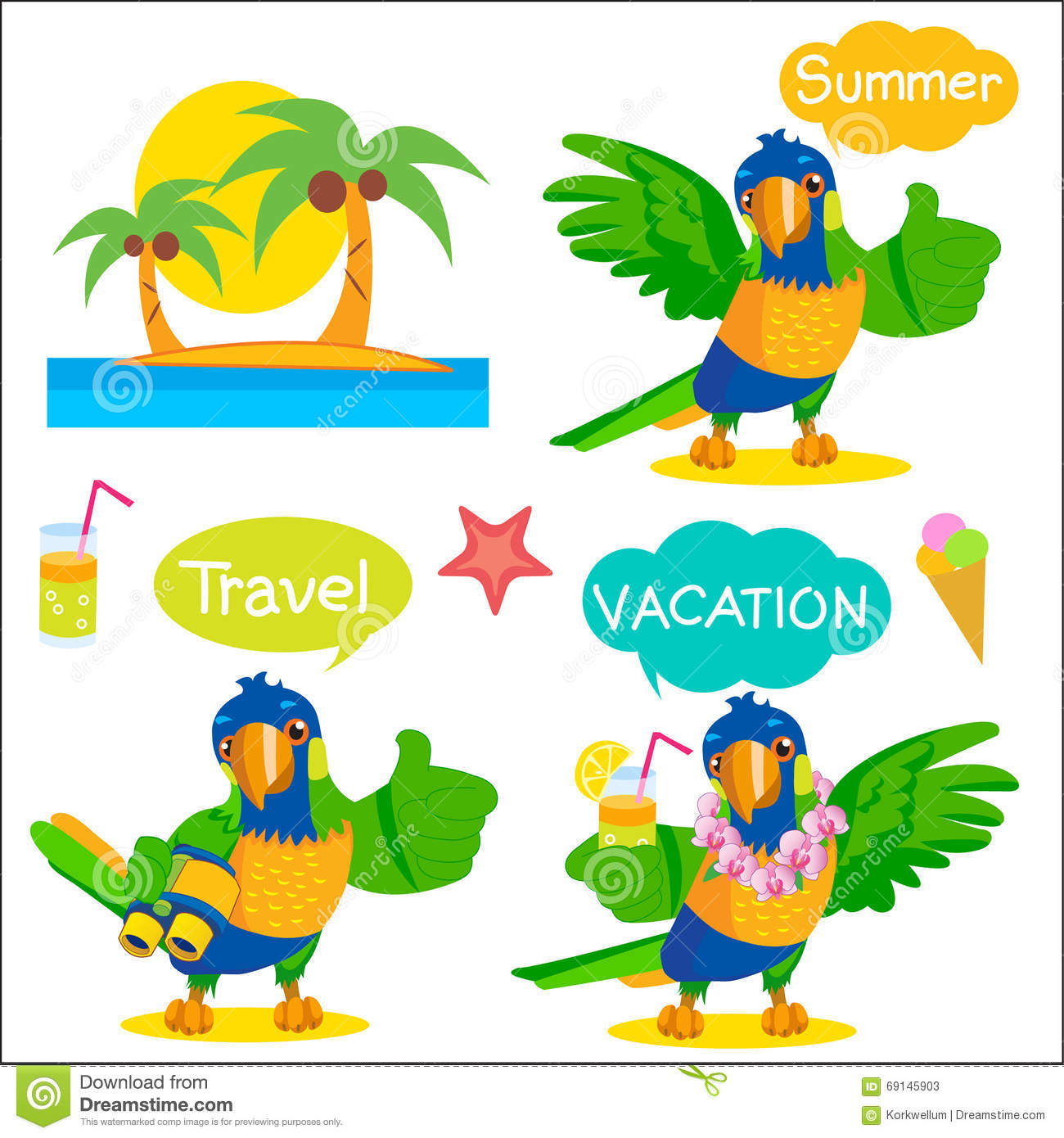 set of funny parrot tourist mascot vacation and tourism icons and