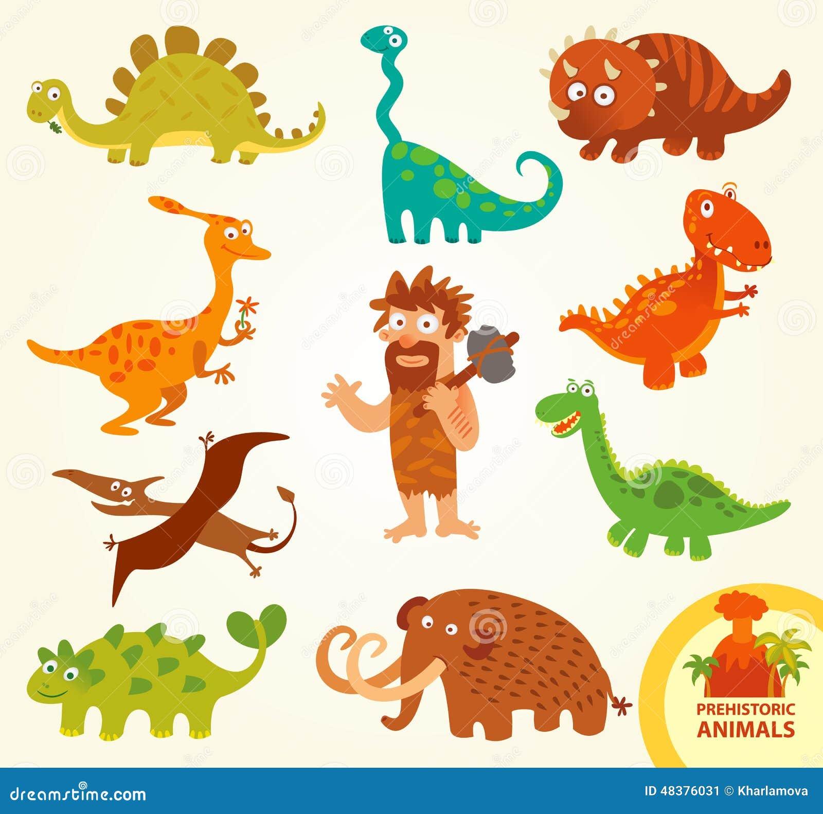 Set funny prehistoric animals cartoon character stock for Garderoben set funny