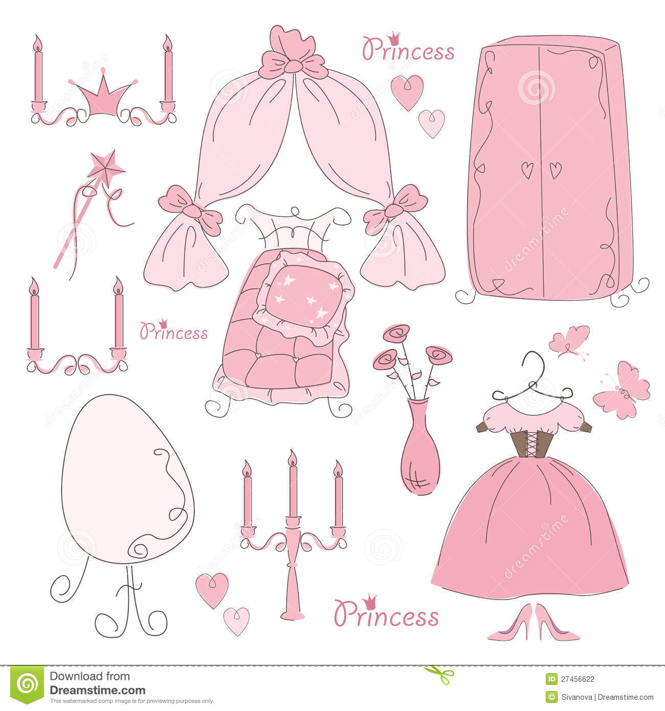 Set Of Furniture And Accessory Princess Stock Photography