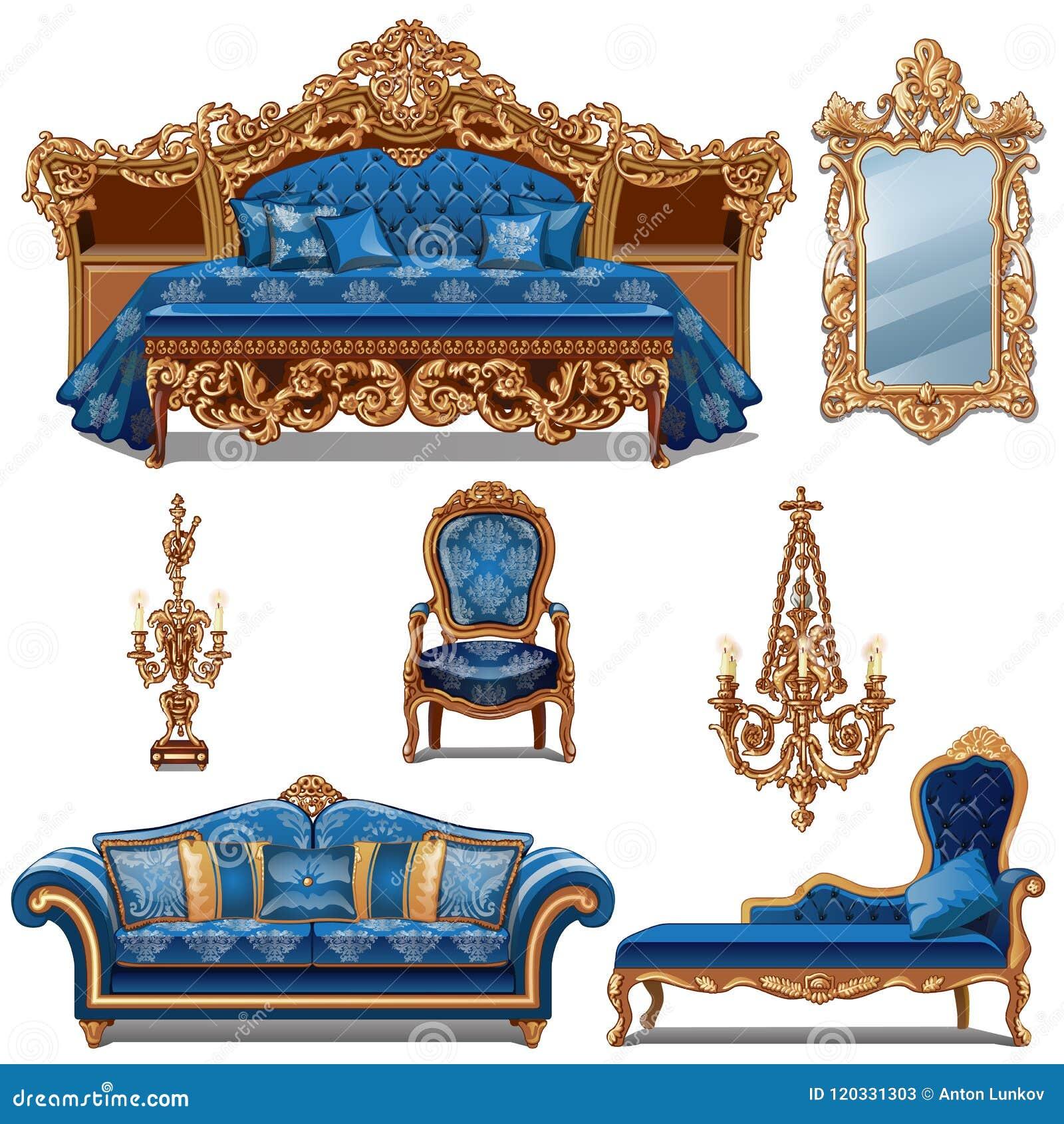 Fantastic A Set Of Furniture Blue Color For Vintage Interior Isolated Inzonedesignstudio Interior Chair Design Inzonedesignstudiocom