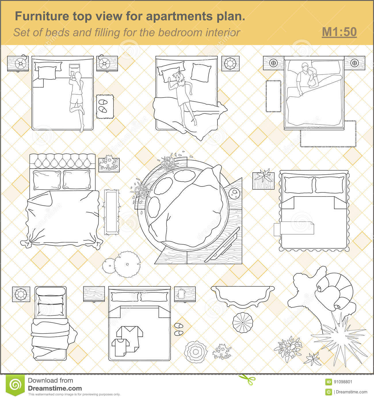 A Set Of Furniture Icons For The Bedroom Top View Stock Vector