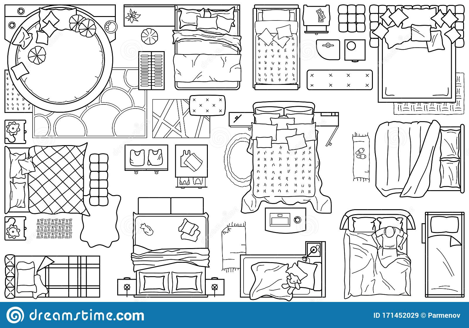 Set Of Furniture Icons For The Bedroom, Top View. The ...