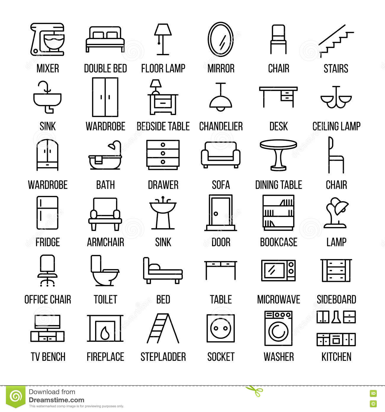 set of furniture icons in modern thin line style  stock