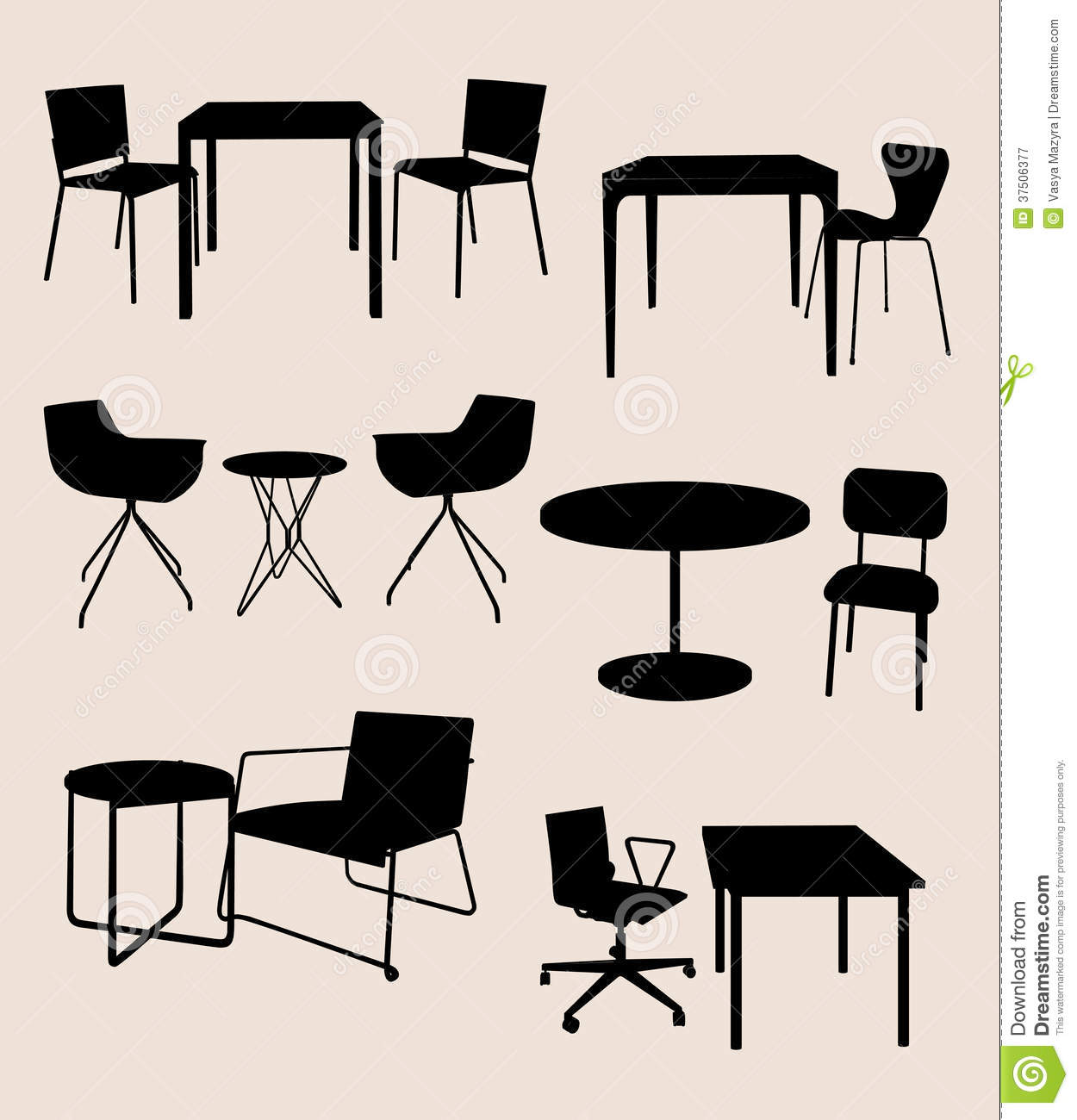Best Dining Table Illustrations Royalty Free Vector: Set Of Furniture. Tables And Chairs. Silhouette Stock