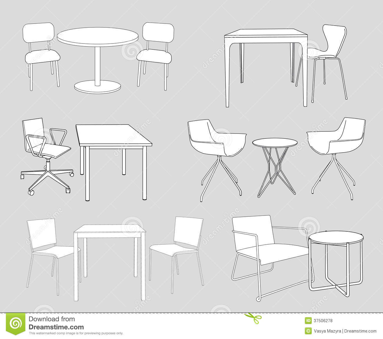 Set of furniture tables and chairs sketch vector stock