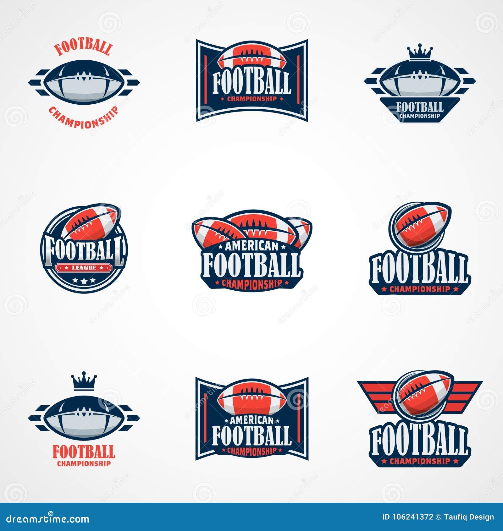 Set futbolu amerykańskiego loga szablon Wektorowi szkoła wyższa logowie Chorzy