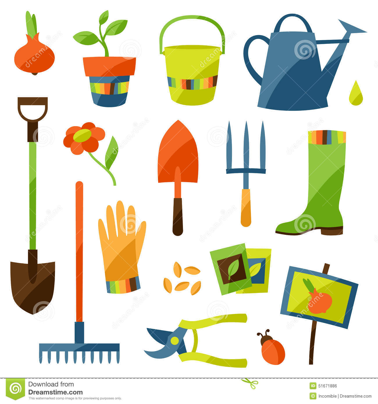 Set Of Garden Design Elements And Icons Stock Vector