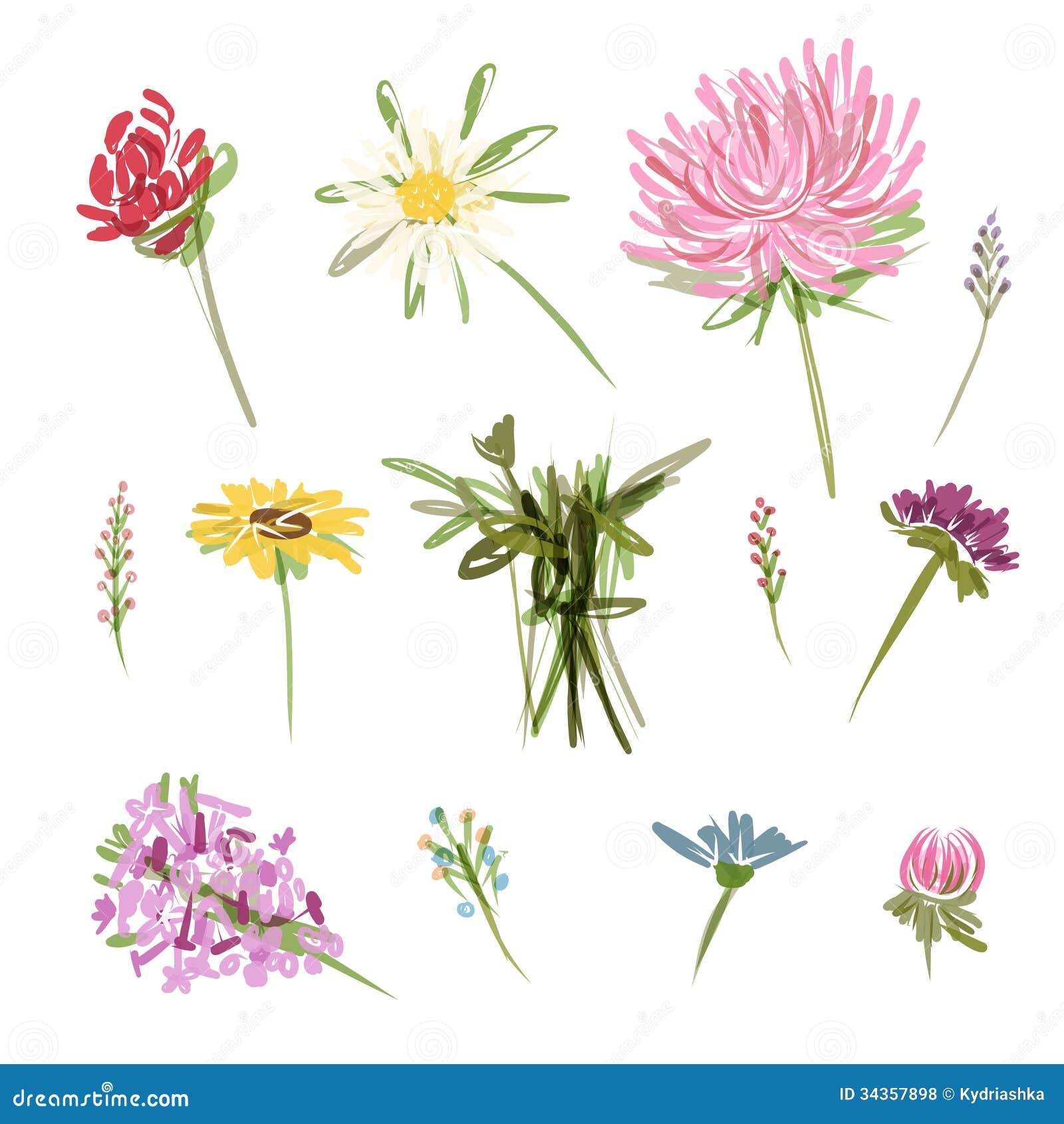 Flower garden sketch - Royalty Free Stock Photo Download Set Of Garden Flowers Sketch