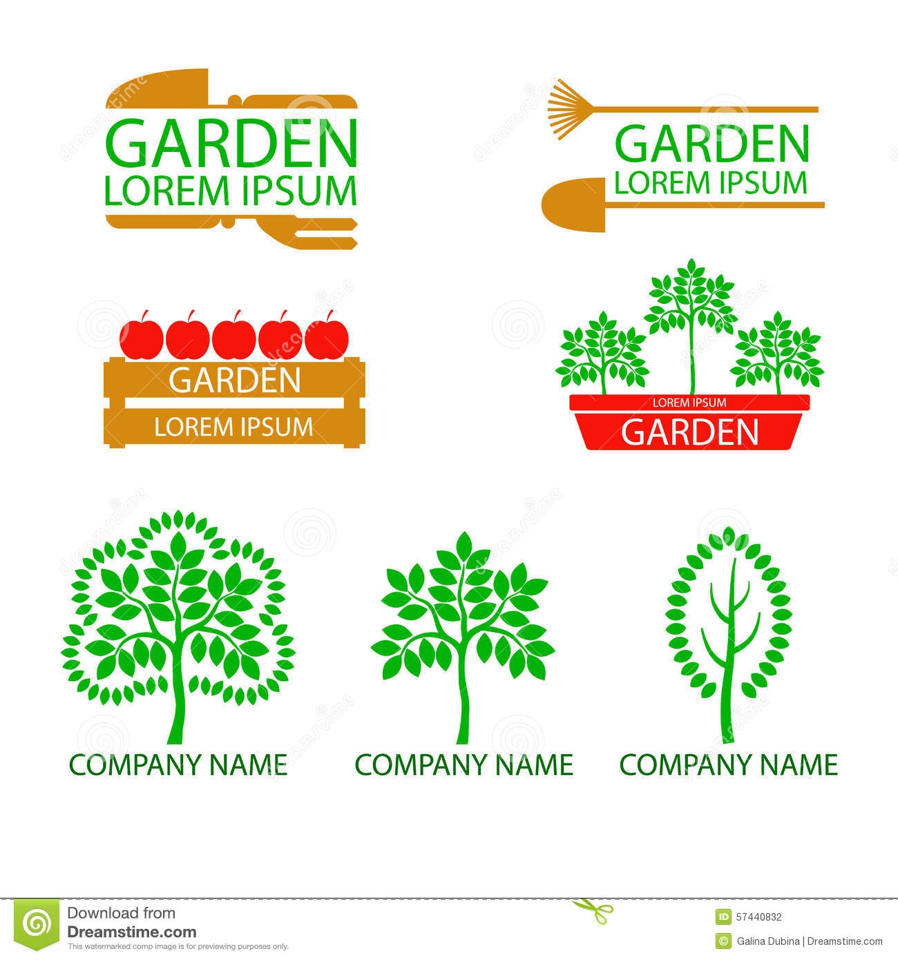 A Set Of Garden Logos. Life, Abstract.