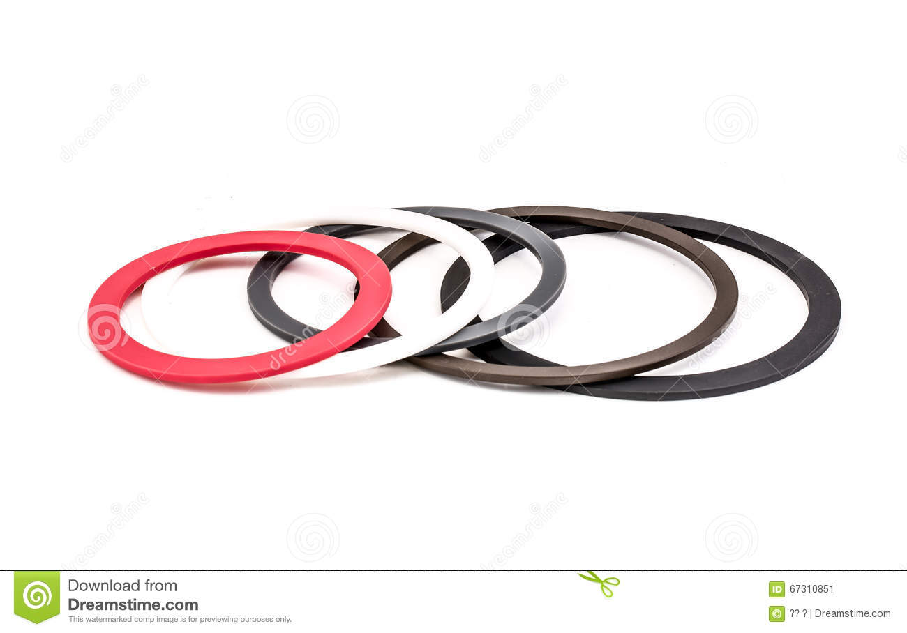 Set of gaskets isolated on white background