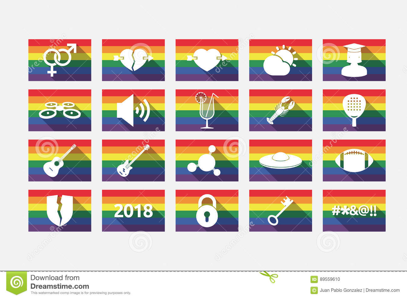set of gay pride flags with miscellaneous mixed icons