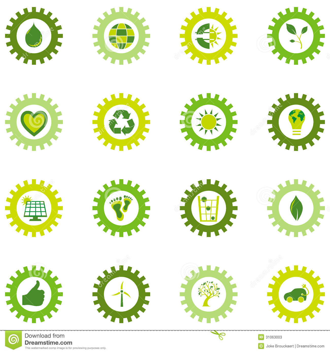 Set Of Gear Wheel Icons From Bio Eco And Environmental