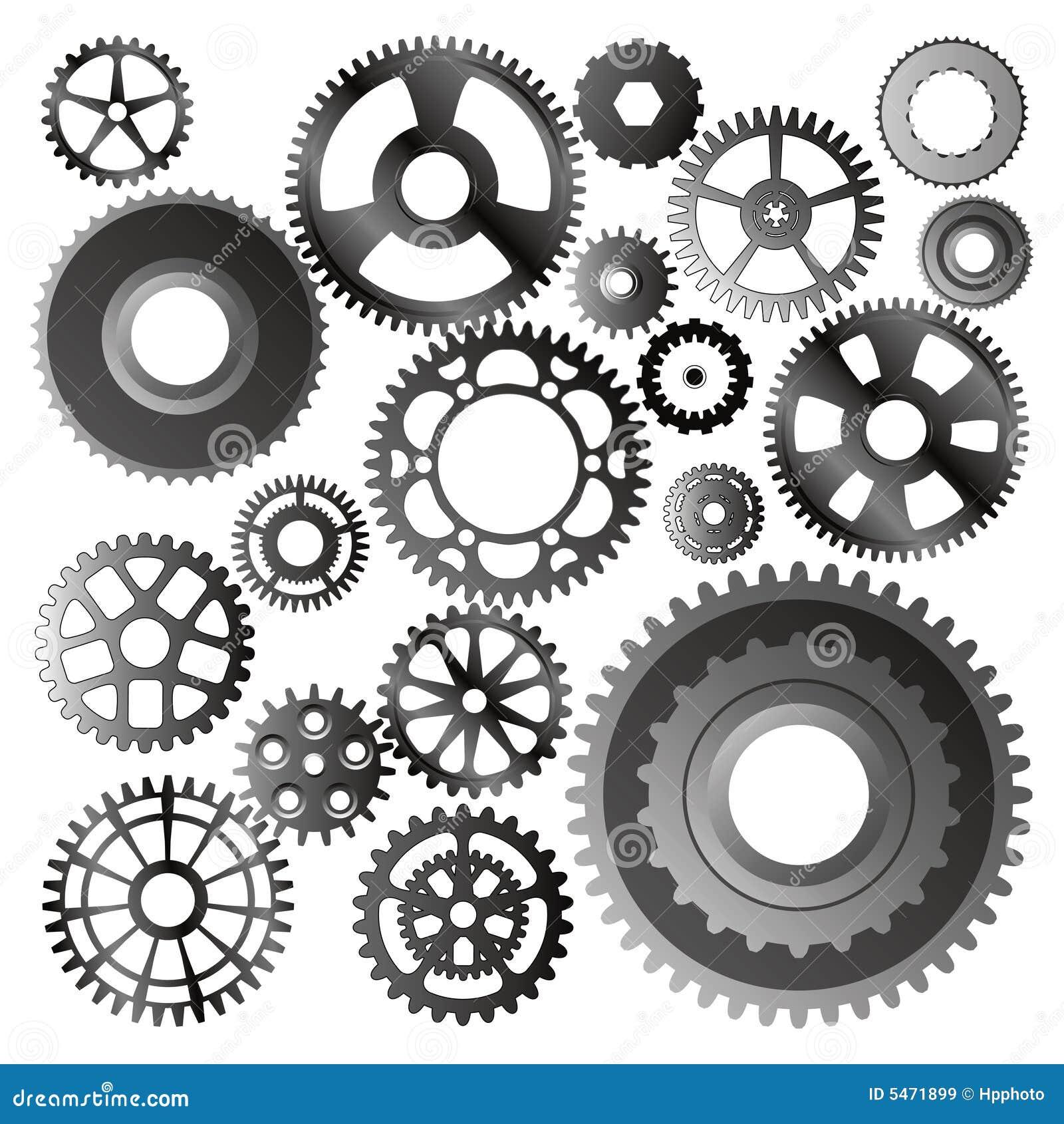 Set Of Gear Wheels Vector Stock Vector Image Of