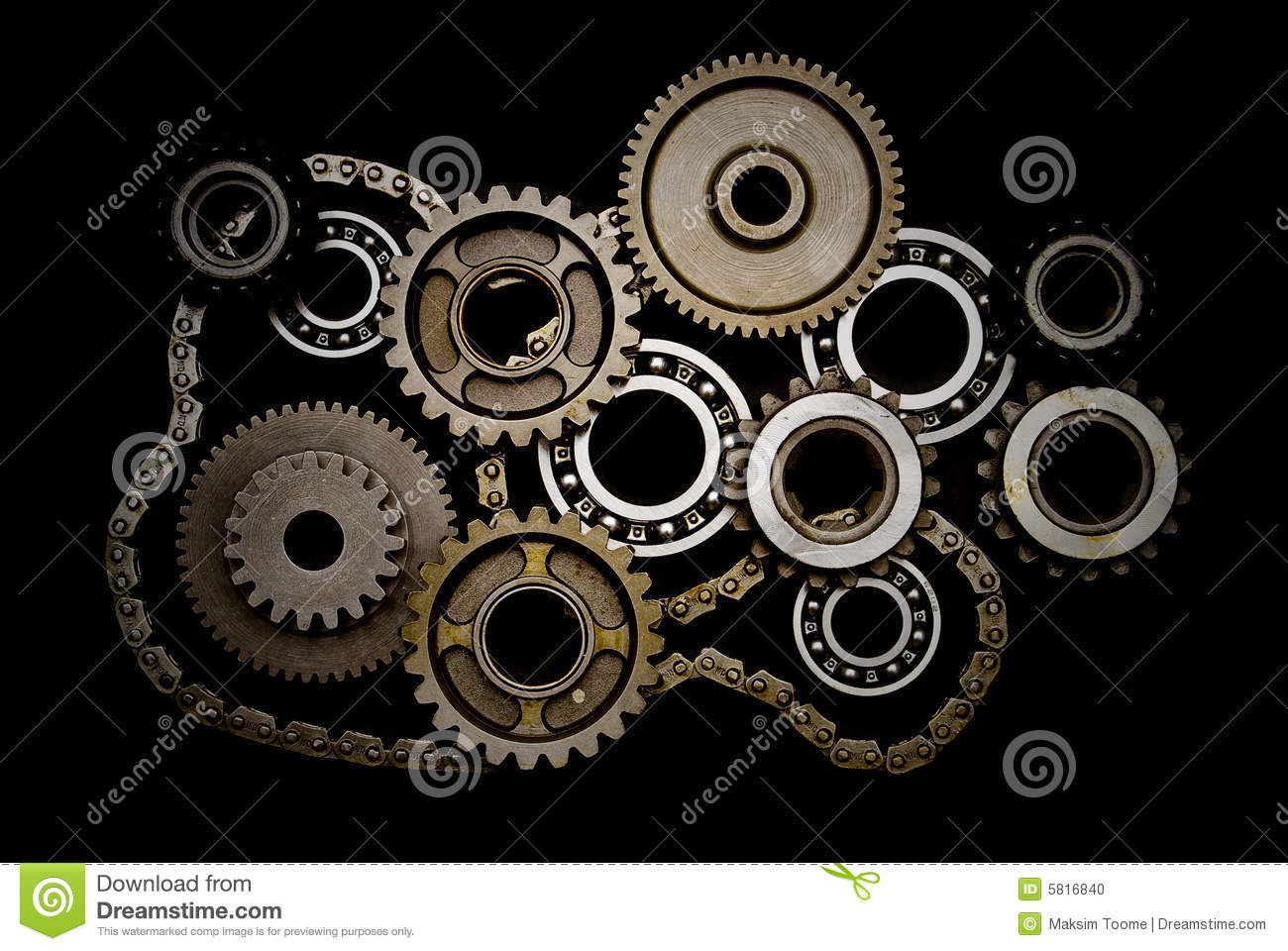 set of gears  ball-bearings and chain stock photo