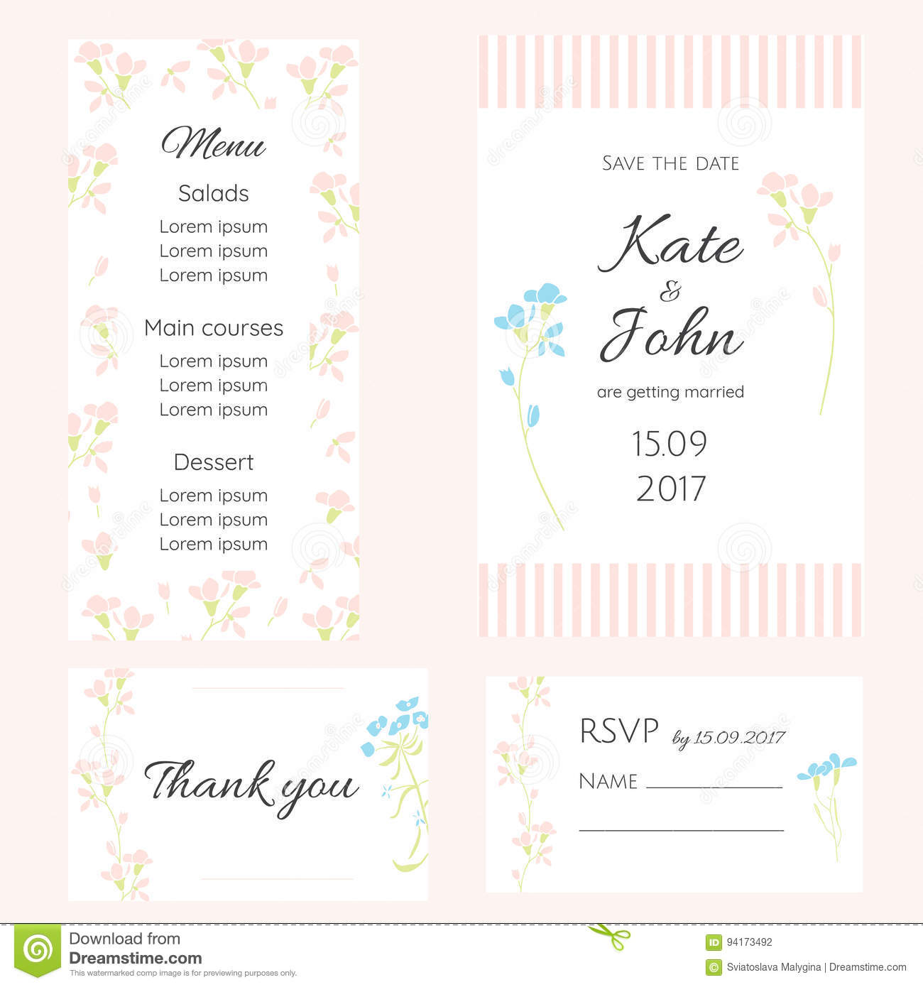 A set of gentle cards for the wedding