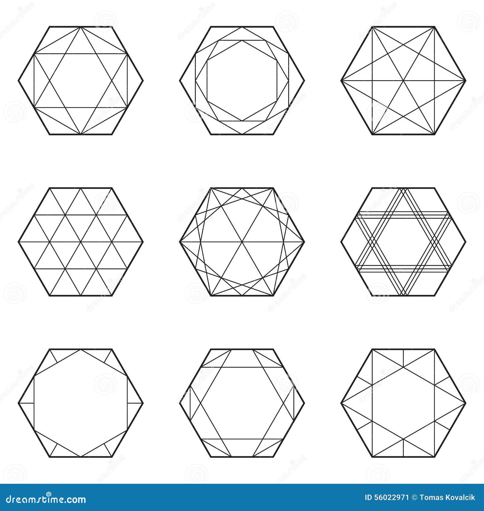 Line Art Design Geometry : Set of geometric elements line design hexagon stock