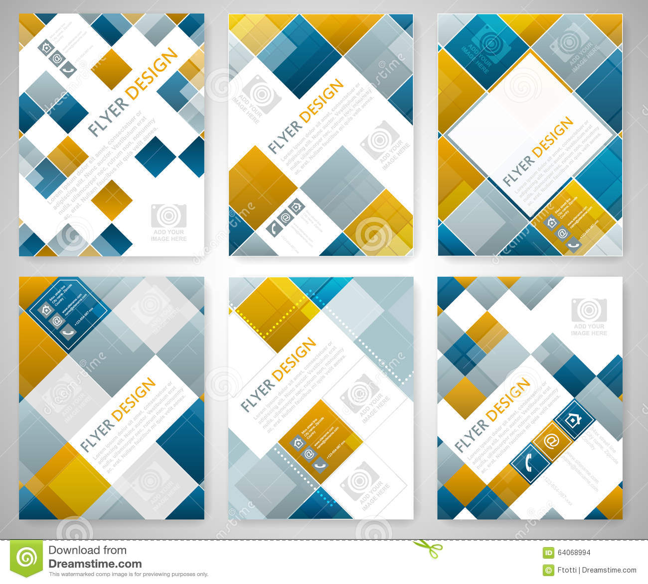 Set Of Geometric Flyer Template Design With Blue And Red Square – Geometric Flyer Template