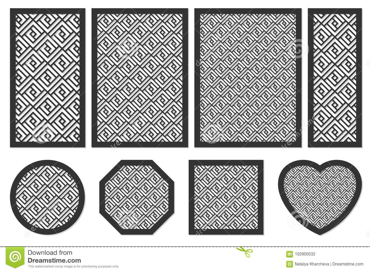 Set Geometric Ornament Template. Card For Laser Cutting. Stock ...