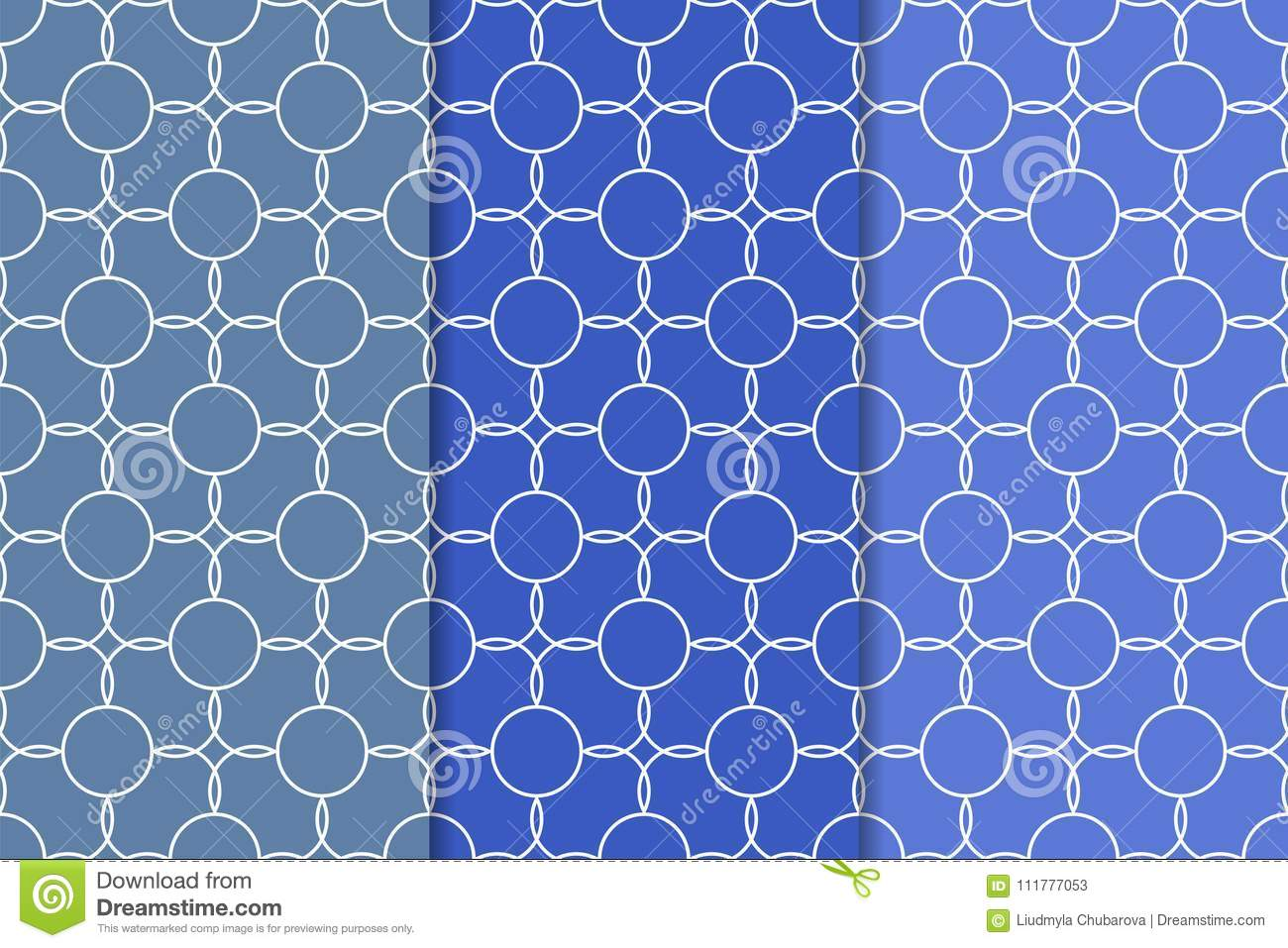 Set of geometric ornaments. Blue seamless patterns