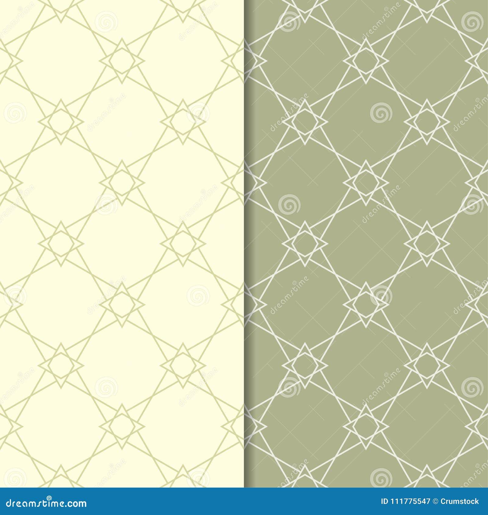 Set of geometric ornaments. Olive green seamless patterns