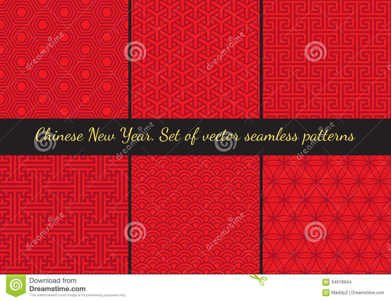 Set of geometric seamless patterns in east asian style for East asian decor