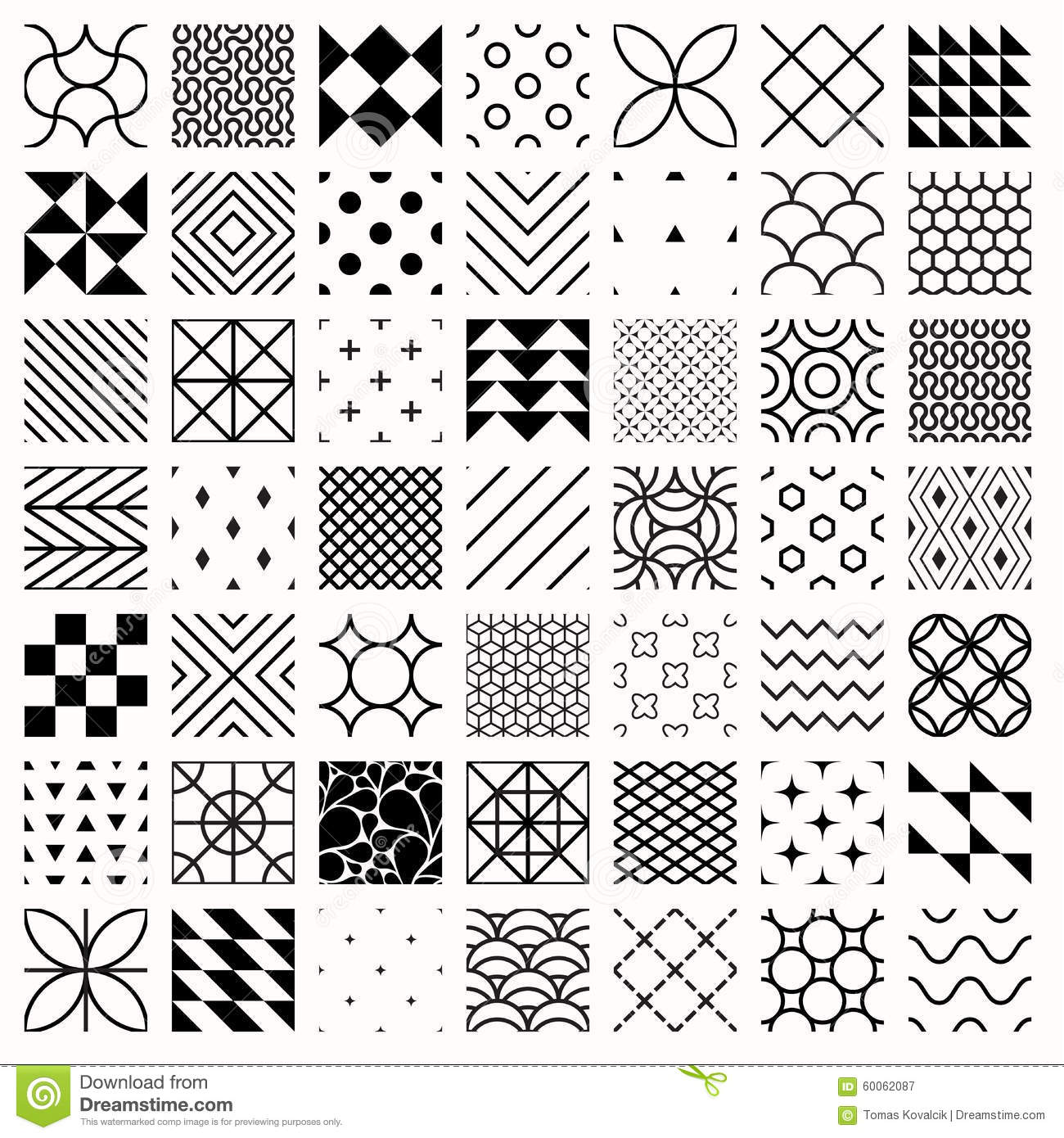Different Line Designs : Set of geometric seamless patterns triangles lines