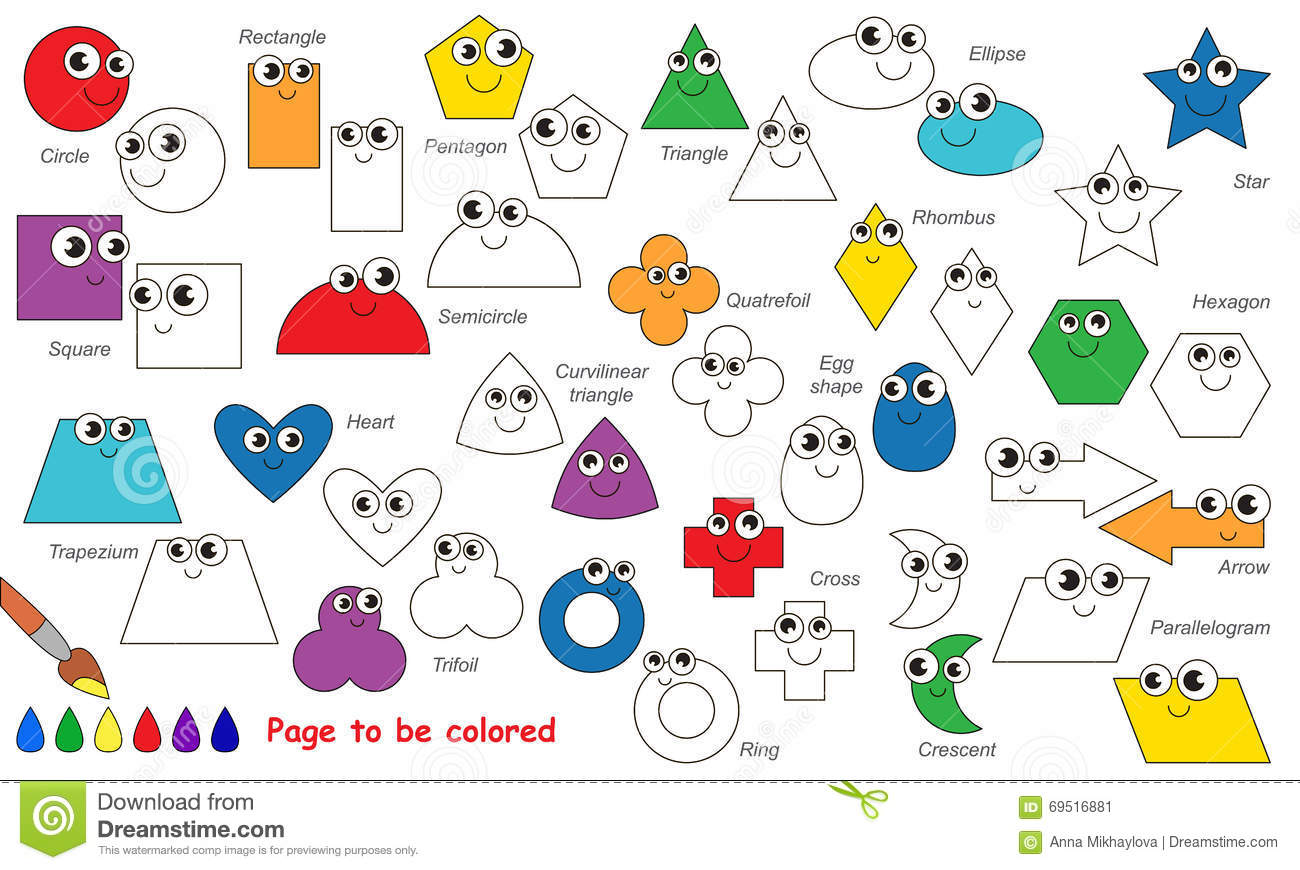 Set Of Geometric Shapes Cartoon. Page To Be Colored. Stock