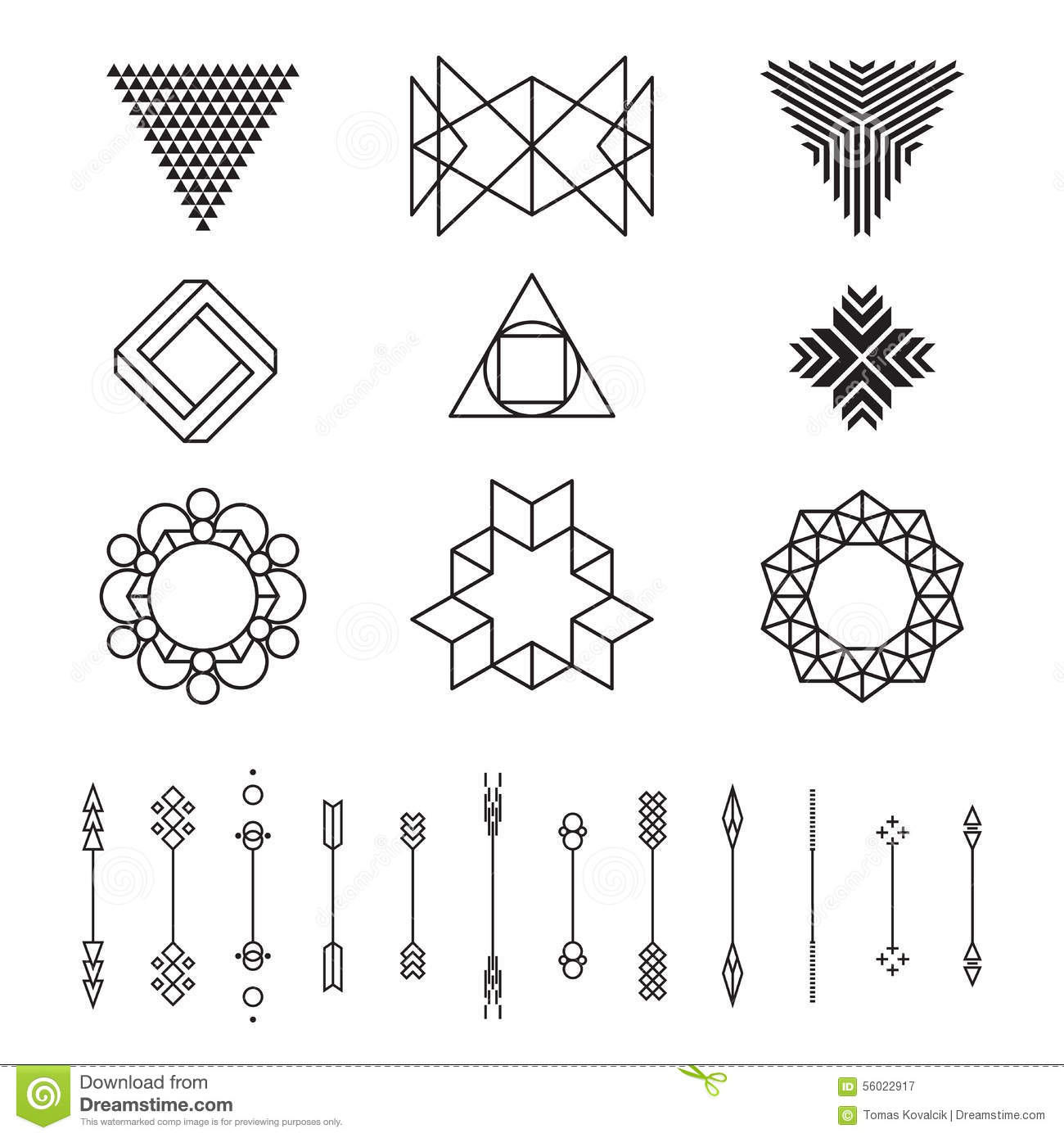 Shapes Designs Art : Set of geometric shapes vector illustration isolated